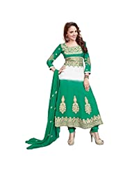 Shreevas Green & White Faux Georgett Anarkali Suit Material With Embroidery Work | STL108