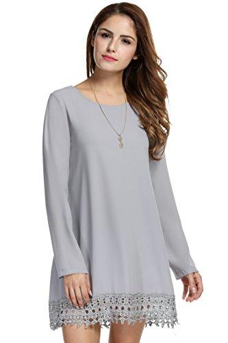 Meaneor Women's Long Sleeves Round Neck Mini Chiffon Dress