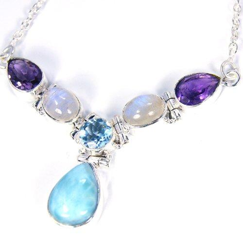 Beautiful Caribbean Sea Larimar & Sterling Silver Necklace