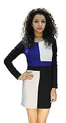 BK Black Women's Dress (LPLW1302425_White Black Blue_X-Large)
