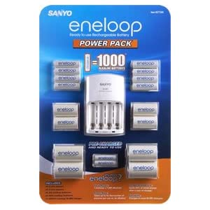 Sanyo Eneloop Power Pack Kit with 8 AA and 2 AAA Batteries, plus 4 C and 4 D Size adapters
