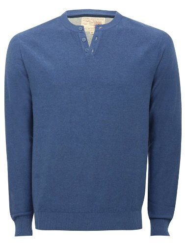 Mens Lightweight Long Sleeve Grandad Collar Cotton Sweater Jumper Navy XXL