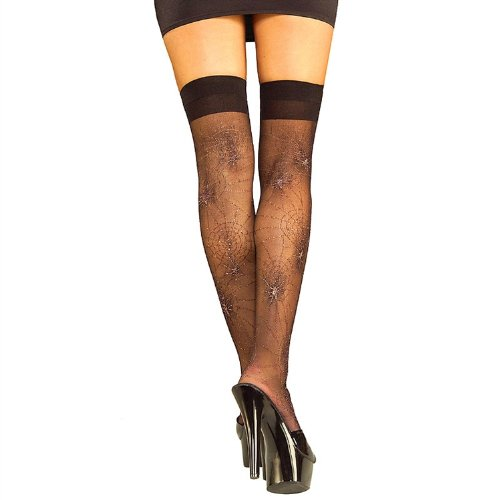 Spider Web Thigh Highs, Black, One Size