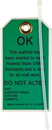 "Brady 86452 5-3/4"" Height, 3"" Width, B-852 Reusable Dura-Tag, Black On Green Color Scaffolding Tags (Pack Of 10)"