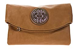 Canal Collection Multi Purpose Soft Foldable PVC Cross Body Clutch with Emblem (Camel)