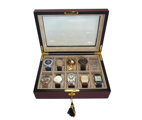 Elegant 10 Piece Cherry Wood Rosewood Watch Display Case and Storage Organizer Box (Watch Box Wood compare prices)