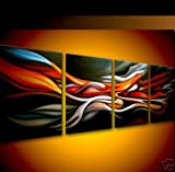 Neonphoenix Cyber Monday 100% Hand-painted Oil Painting Wood Framed Dazzling Boy Home Decoration Modern Landscape Paintings on Canvas 4pcs Ready to Hang for Living Room Wall D¨¦cor
