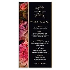 175 Wedding Menu Cards - Rubenesque Roses & Black