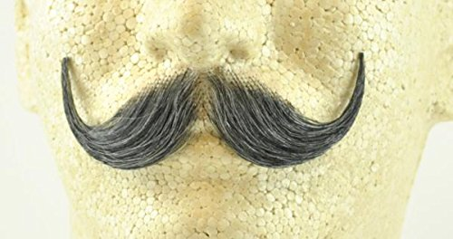 Handlebar Mustache DARK GREY - 100% Human Hair - no. 2013 - REALISTIC! Perfect for Theater - (Theatrical Moustaches And Beards)