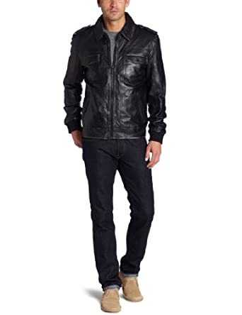 Kenneth Cole男士100%全真皮摩托夹克Leather Moto Outerwear $131.54