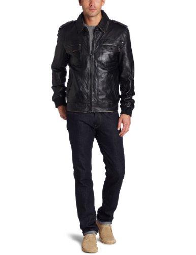 Kenneth Cole Moto Outerwear 男款真皮机车夹克