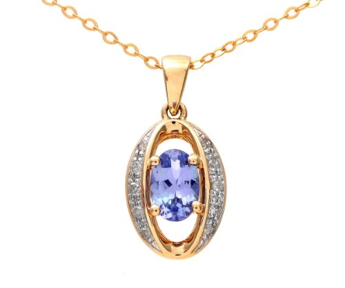 9ct Yellow Gold Tanzanite and Diamond Oval Pendant