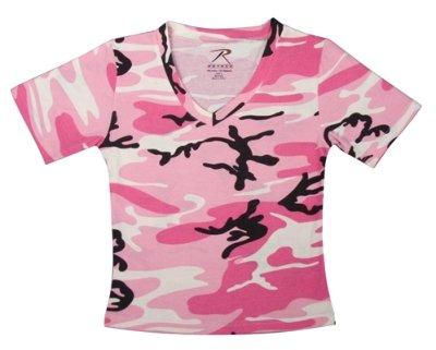 Womens Pink Camo Short Sleeve V-Neck T-Shirt-M
