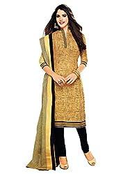 Divisha Fashion Women's Dress Material Yellow and Black Cotton Printed Churiddar Suit with Dupatta