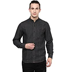 Atorse Mens Black Denim Casual Mandrin collar Shirt