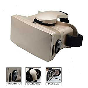 Youzi 3D VR Virtual Reality Headset 3D VR Glasses with Magnetic Button(Gold)