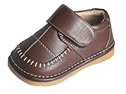 Squeaky Shoes Toddler Boys Brown Leather Dress Shoes 1 M US