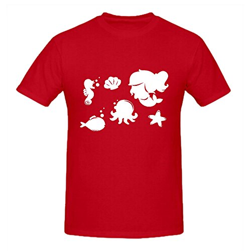 Cartoon Mermaid Silhouettes Vector Sport T Shirt For Men Crew Neck Red Cotton