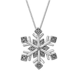 sterling silver diamond snowflake pendant