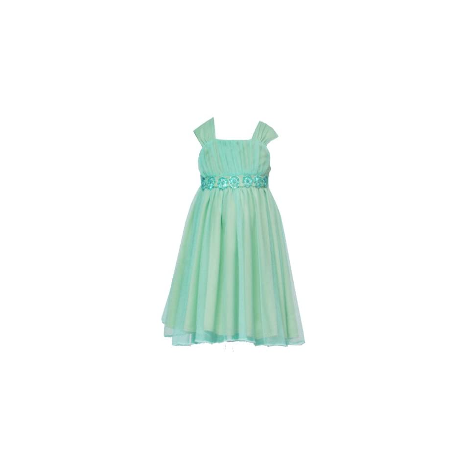 Rare Editions Little Girls 4 6X TURQUOISE BLUE GREEN BEADED SEQUIN MESH OVERLAY Special Occasion Wedding Flower Girl Easter Birthday Party Dress