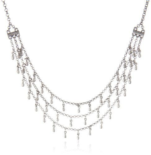 Lucky Brand 3 Tiered Chain Necklace With Silver Dangling Beads And Turquoise Stones