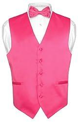 Men's Dress Vest BOWTie HOT PINK FUCHSIA Bow Tie Set for Suit or Tuxedo