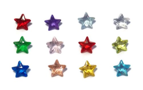 Set of 12 Star Birthstones for Floating Lockets - Old School Geekery Brand Floating Charms - Packaged Safely in Bubble Packaging. (Floating Charms Gems compare prices)