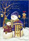 Snowman Winter Garden Flag Snow Sled