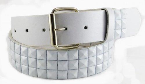 Nice Shades Punk Studded Leather/Faux Bonded Snap On Belt White Large Gold Stud Belt