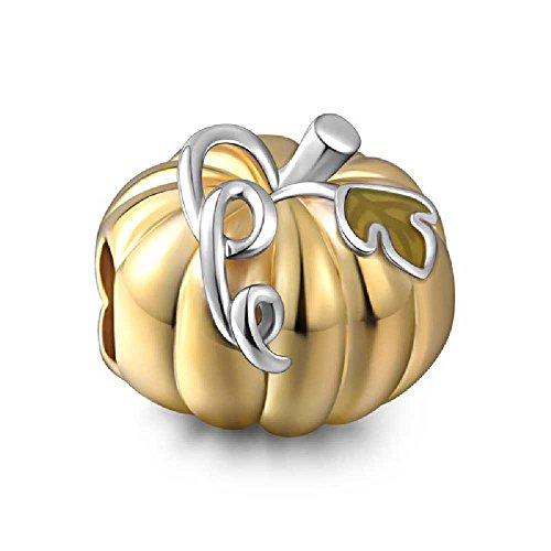 Soufeel Halloween Golden Pumpkin Charms Happy Halloween Beads 925 Sterling Silver Fit European Bracelet
