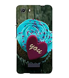 printtech Love Cupcake Heart Back Case Cover for Micromax Q372 Unite 3