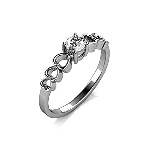 Tk Beauty Elegant 18k white Gold Plated Six Heard Decoratively Swarovski Crystal 1ct Solitaire Cubic Wedding Engagement Ring by Tk Design