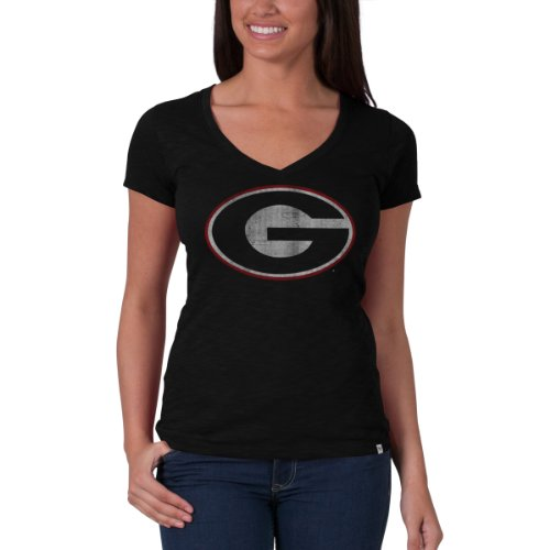 Ncaa Georgia Bulldogs Women'S V-Neck Scrum Tee, Jet Black, Small