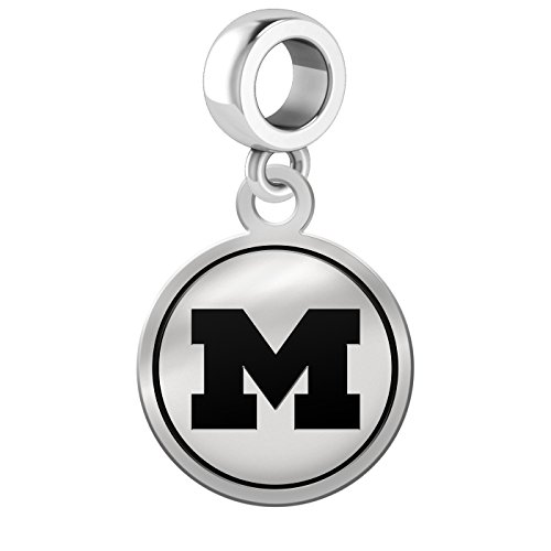 Michigan Wolverines Border Round Dangle Charm