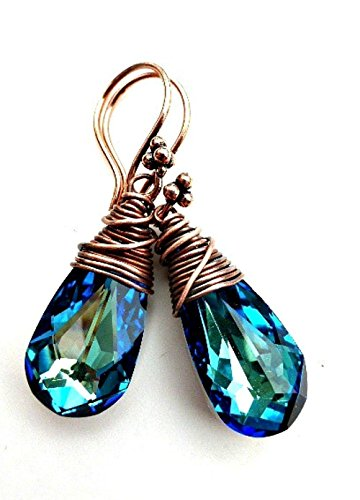 Bermuda Blue Swarovski® Crystal pendants with copper wire wrapping earrings. Medium size earrings. Boho, Bohemian, Wedding, Bridal, Victorian. Handmade jewelry, jewellery. Fashion, Accessories. (Handmade Wire Jewelry compare prices)