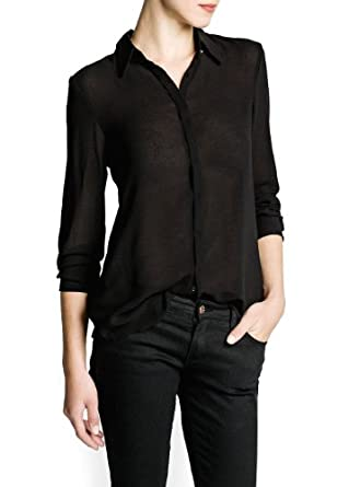 'Mango Women's Long Sleeve Flowy Shirt, Black, 6