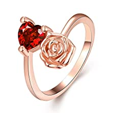 buy [Eternity Love] Women'S Pretty 18K Rose Gold Plated Elegant Imitation Solitaire Ruby Heart Crystal Wedding Engagement Band Rings Best Promise Rings For Her Tivani Anniversary Collection Jewelry Rings