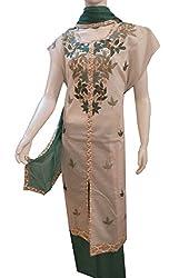 Women's Semi-Stitched Green Cotton Suit