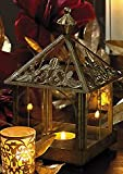 Gold Conservatory Holiday Lantern with Battery Operated Flickering Votive Candle