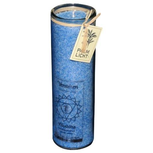 Chakra-Kerzen-Palmwachs-Windlicht-HELLBLAU-Visuddah-Chakra-Hals-Chakra-ca-100-Stunden-Brenndauer
