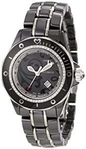 Lucien Piccard Women's 27107BKPAS Celano Automatic Diamond Accented Paisley Dial Black Ceramic Watch