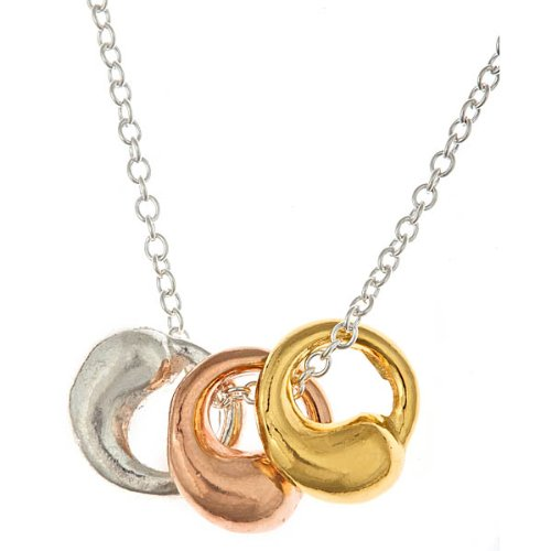 3 Tone - Yellow Gold, Rose Gold, & Silver Eternal Circle Pendant Necklace 20