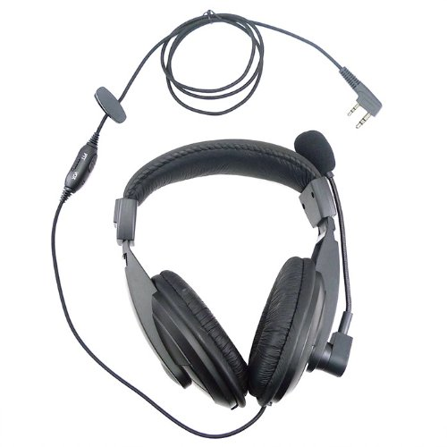 Professional Overhead Noise Cancelling Headset Earpiece Boom Microphone For 2 Pin Kenwood Baofeng Puxing Quansheng Weierwei Wouxun Radio Tk388G Tk-430 Tk-431 Tk-2100 Tk-2102 Tk-2102L Etc.