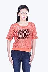 Skatti Womens Cotton Lace Long Sleeve Top (Sk_139_15Orangegirl_S _Orange _Small)