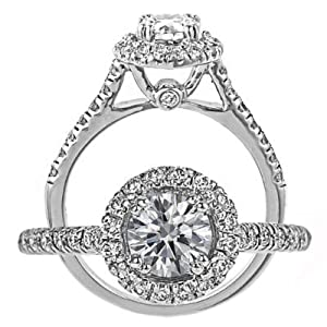 14k White Gold Round Cut Diamond Engagement Ring Vintage Style (0.91 Carat, SI-3 Clarity, F Color) from ATR Jewelry