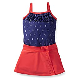 Carter\'s Girls 1-piece Swimsuit & Skirt Set (Youth 4, Navy/Red)