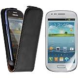 kwmobile Flip Case H�lle f�r Samsung Galaxy S3 Mini - Aufklappbare Kunstleder Schutzh�lle Tasche im Flip Cover Style in Schwarz + 3 Schutzfolien