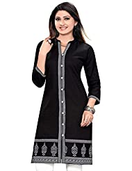 Meher Impex Black Achkan Style And Pintex Cotton Kurti With White Embroidery