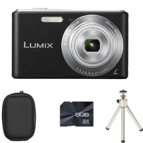 Panasonic Lumix DMC-F5 - Black + Case + 8GB Card and Tripod (14.1MP Black Friday & Cyber Monday 2014