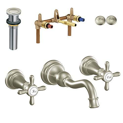 Moen Klwe W Ts42112bn Weymouth Two Handle Wall Mount Lavatory Faucet Brushed Nickel Reviews